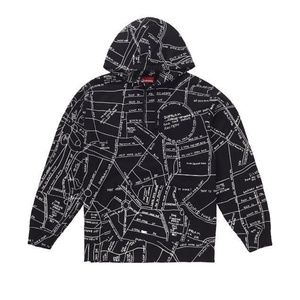 Supreme Gonz embroided map hooded sweatshirt black